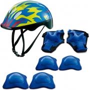 Kit De Proteção Chamas Azul Com Capacete - Zippy Toys
