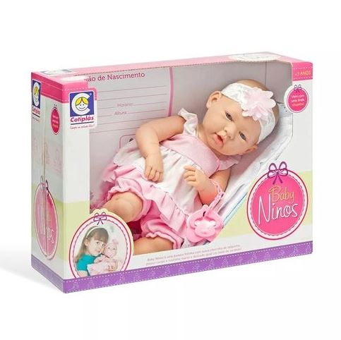 Boneca Baby Ninos Bebê Recém Nascido Cotiplás