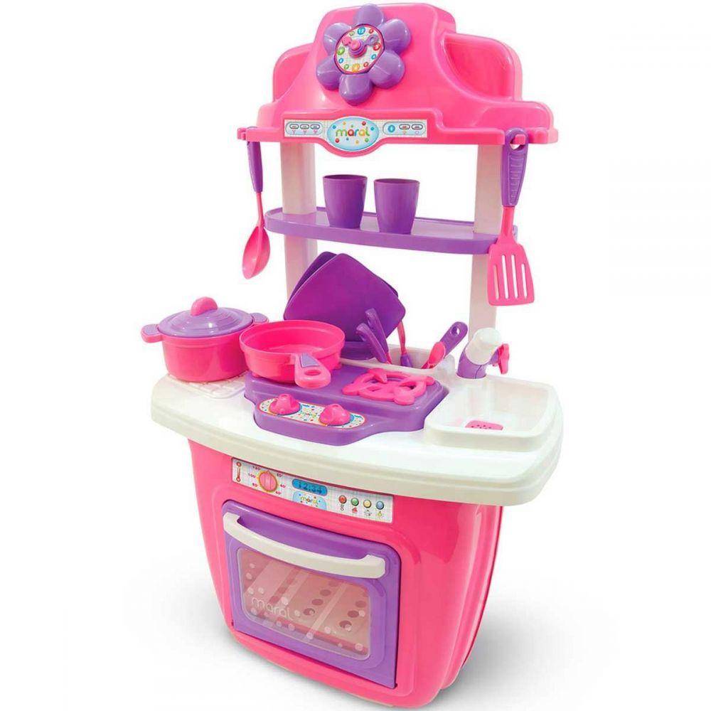Mini Cozinha Infantil Rosa Com Rodinhas/Abre Forno/Água Pia