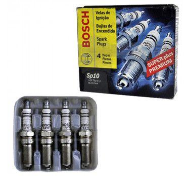 Jogo 4 Velas Ignição SP10 HR7M+U F000KE0P10 Bosch Ford Zetec Rocam Fiesta Focus Ka Divs aplics