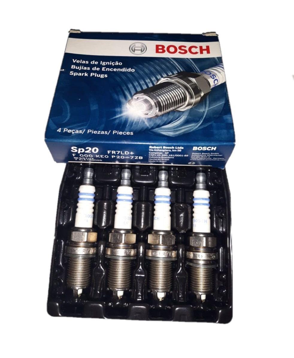 Jogo 4 Velas Ignição SP20 FR7LD+ Bosch Golf Passat Porsche
