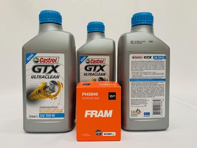 Kit Filtro Óleo Strada 1.4 8V Fire 15W40 Castrol Filtro Fram
