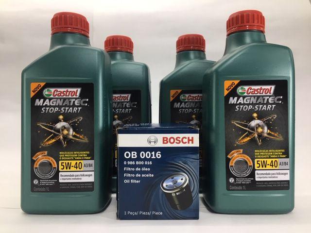 Kit Troca Óleo A3 1.6/ Polo 1.6 8V Castrol 5W40 Filtro Bosch