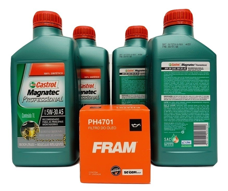 Kit Troca Óleo Cobalt 1.8 8v Magnatec 5w30 Filtro Fram