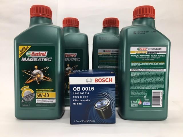 Kit Troca Óleo Crossfox 1.6 Castrol 5w40 508.88 Filtro Bosch