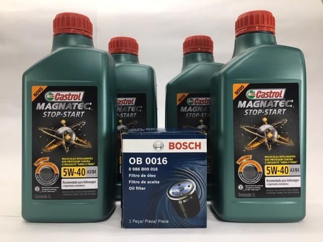 Kit Troca Óleo Fox 1.0 8v Castrol 5w40 Filtro Bosch