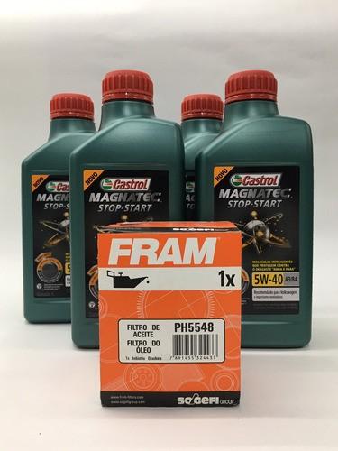 Kit Troca Óleo Fox 1.6 8v Castrol 5w40 Filtro Fram