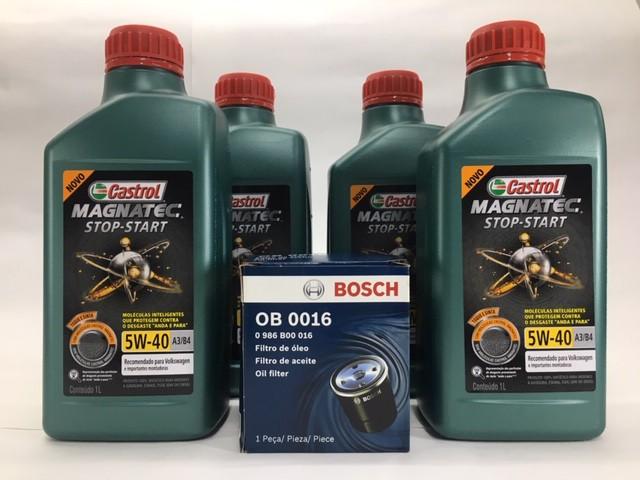 Kit Troca Óleo Gol 1.0 8 e 16V MI Castrol 5W40 Filtro Bosch