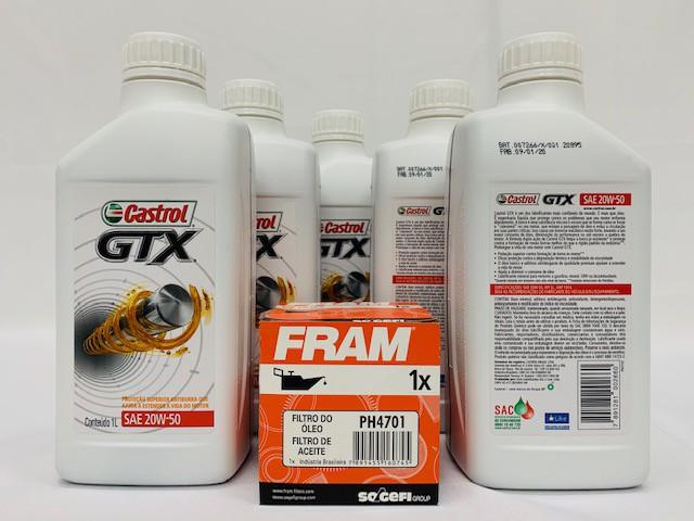 Kit Troca Óleo Kadett 1.8 2.0 Castrol Gtx 20w50 Filtro Fram