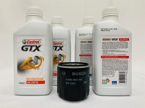 Kit Troca Óleo Palio 1.0 Castrol GTX 20w50 Filtro Bosch