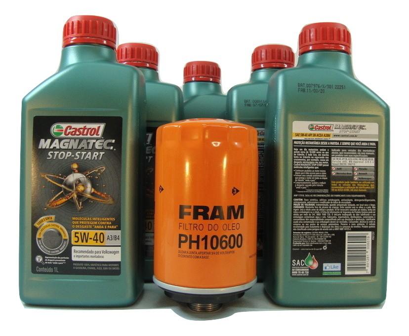 Kit troca Óleo Passat 2.0TSI 08>15 5W40 Magnatec Filtro Fram