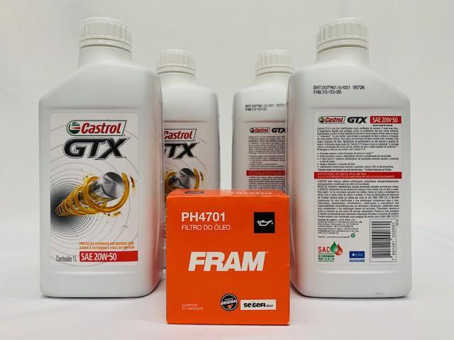 Kit troca Óleo Tigra 1.6 16V Castrol GTX 20W50 Filtro Fram