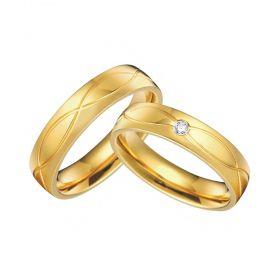 Alianças de Casamento de Ouro a 5.0mm com Friso Onda e Zircônia Afrágol - AL579