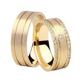 Alianças de Casamento de Ouro 7.0mm Escovada com Frisos e Zircônias Arezzo - AL603