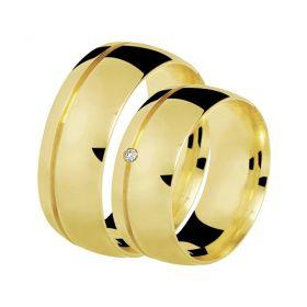 Alianças de Casamento de Ouro 7.0mm com Friso e Zircônia Bolonha - AL513