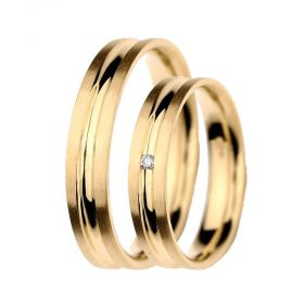 Alianças de Casamento de Ouro 4.5mm com Zircônia  Cagliari - AL541