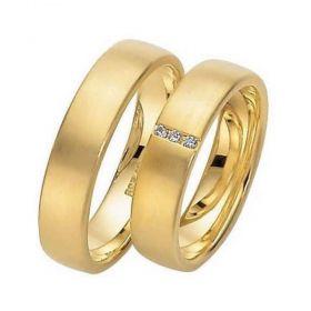 Alianças de Casamento de Ouro 5.0mm com Zircônias Crona - AL543