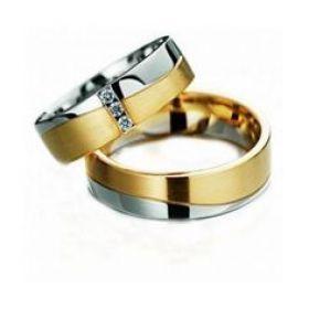 Alianças de Casamento de Ouro 6.0mm Mistas com Zircônias Flirtare - AL555