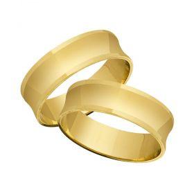 Alianças de Casamento de Ouro 7.0mm Côncavo Gatto - AL562