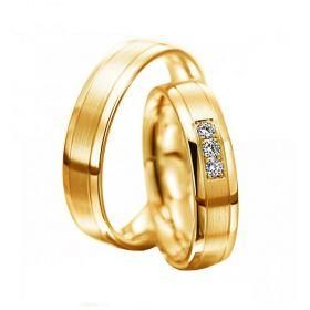 Alianças de Casamento de Ouro 4.0mm com Friso e Zircônias Génova - AL613
