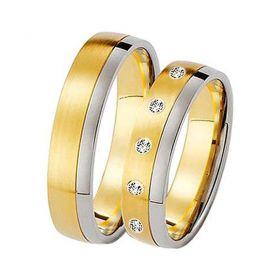 Alianças de Casamento de Ouro 5.0mm com de Ouro Branco e Zircônias Giugliano - AL546
