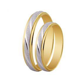 Alianças de Casamento de Ouro 4.5mm com de Ouro Branco Diamantado Salerno - AL581