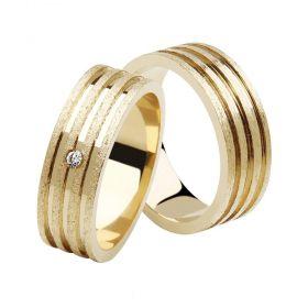 Alianças de Casamento de Ouro 6.0mm com Friso e Zircônia Savona - AL616