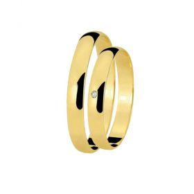Alianças de Casamento de Ouro Tradicional 3.5mm com Zircônia - AL574