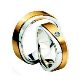 Alianças de Casamento de Ouro Branco 6.5mm com de Ouro Amarelo e Zircônia Calábria - AL582