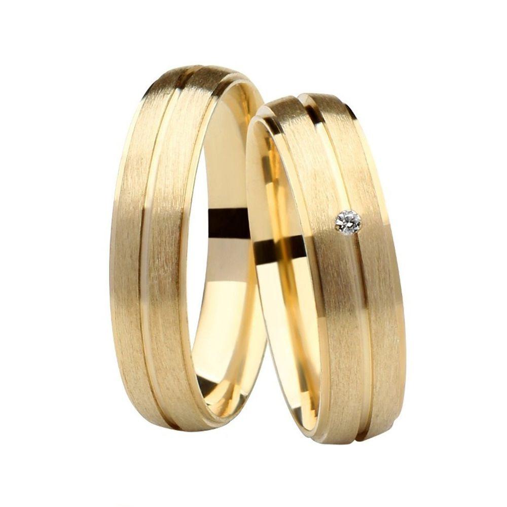 Alianças de Casamento de Ouro 5.0mm com Frisos e Zircônia  Florença - AL532