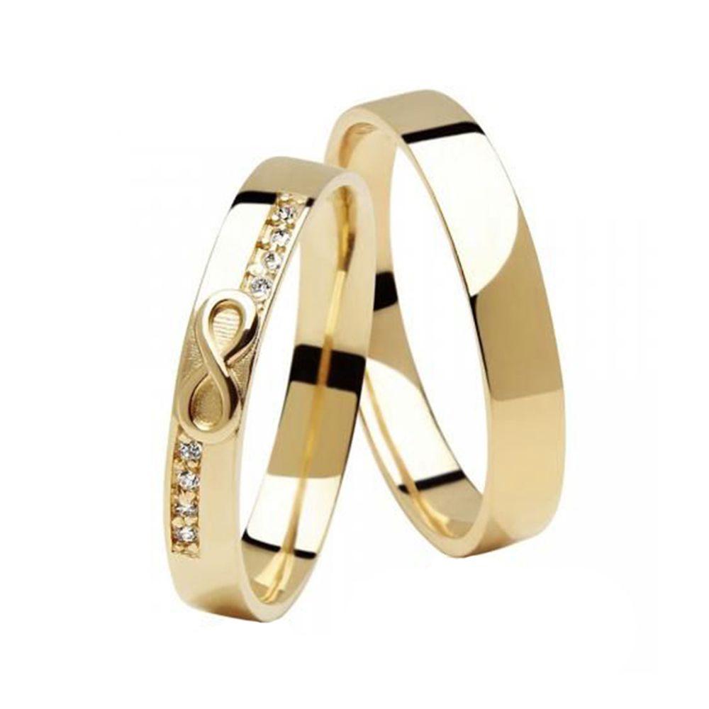 Alianças de Casamento de Ouro 3.5mm com Zircônias Infinity - AL609