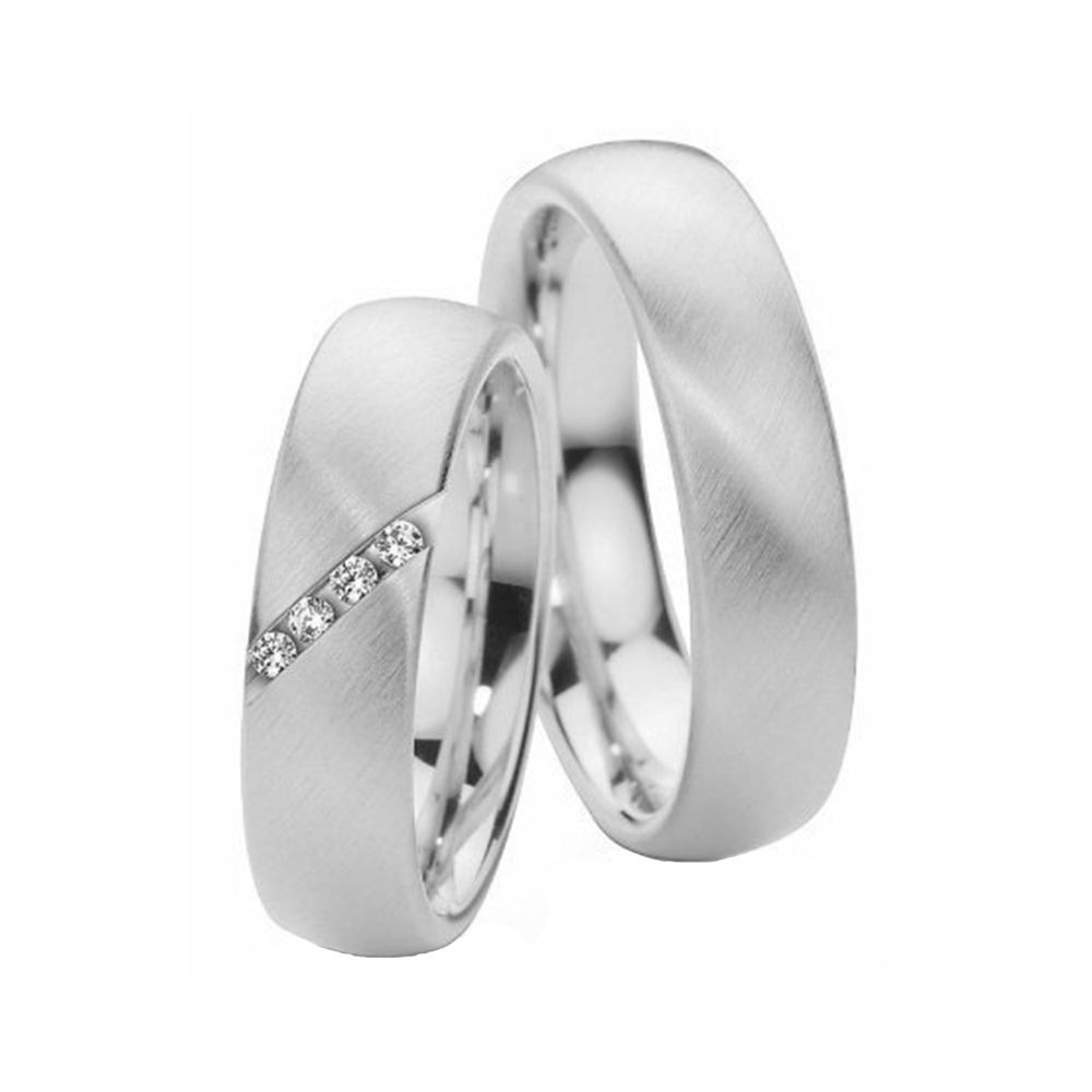 Alianças de Casamento de Ouro Branco 6.0mm com Zircônias Catânia - AL515