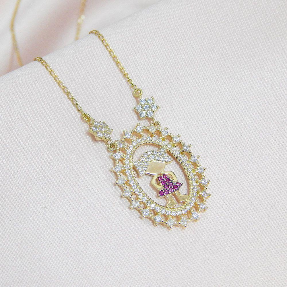 Gargantilha em Ouro 18k Mandala de Menina com Zircônias