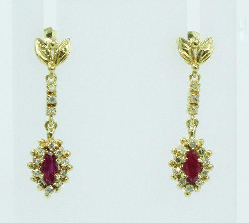 Brincos De Ouro 18k750 Diamantes Rubis B762
