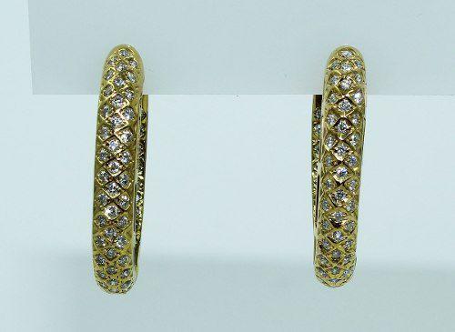 Brincos De Ouro 18k750 Diamantes B649
