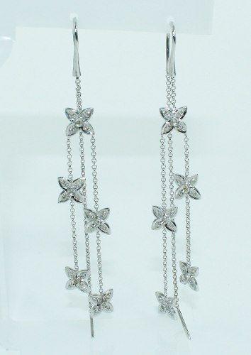 Brincos De Ouro Branco 18k750 Diamantes B713