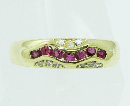 Anel De Ouro 18k750 Diamantes Rubis 2202