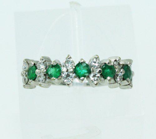Anel Ouro Branco 18k750 Diamantes Esmeraldas 2224