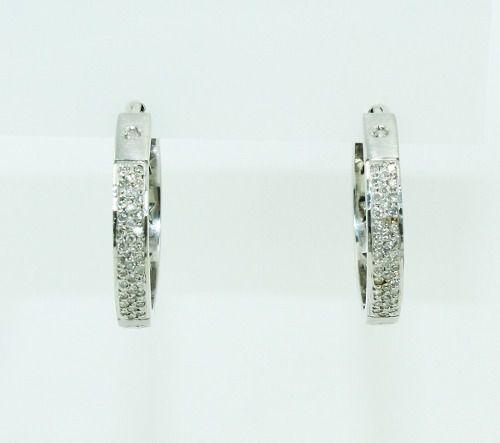 Brincos De Ouro Branco 18k750 Diamantes B830