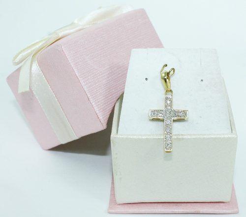 Pingente De Ouro 18k750 Diamantes Cruz P639