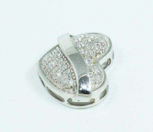 Pingente Ouro Branco 18k750 Coração Diamante P635
