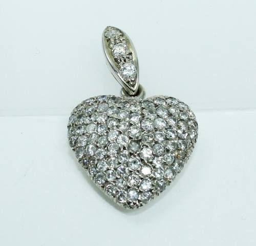 Pingente De Ouro 18k750 Coração Diamantes P612