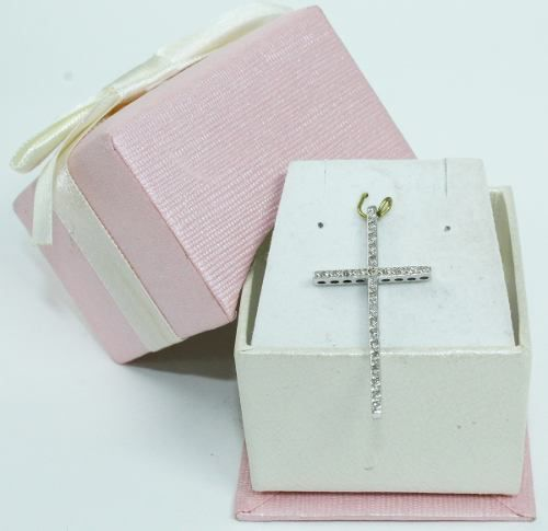 Pingente Ouro Branco 18k750 Cruz Diamantes P609