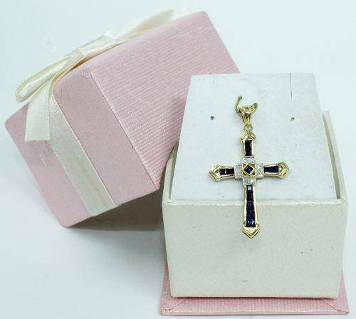 Pingente Ouro 18k750 Cruz Diamantes Safiras P606