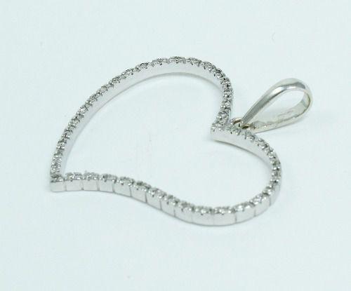 Pingente Ouro Branco 18k750 Coração Diamante P605