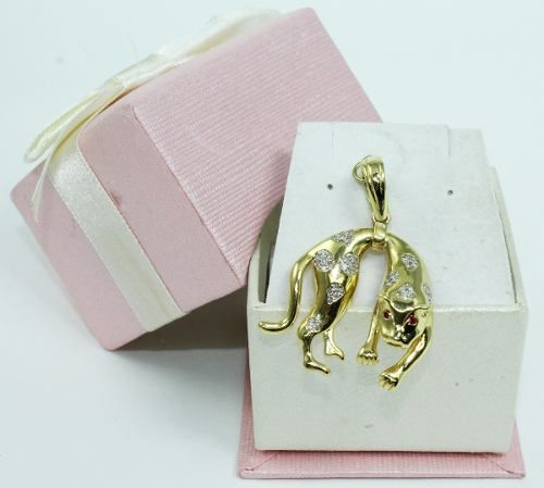Pingente De Ouro 18k750 Tigre Diamantes P603