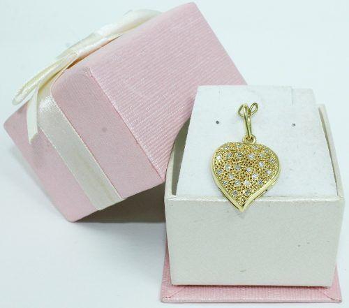 Pingente De Ouro 18k750 Coração Diamantes P602