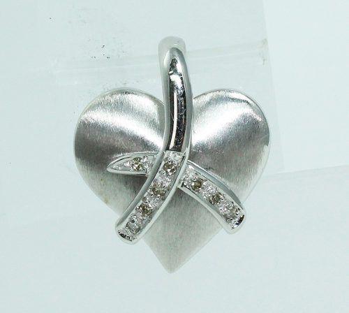 Pingente Ouro Branco 18k750 Coração Diamante P599
