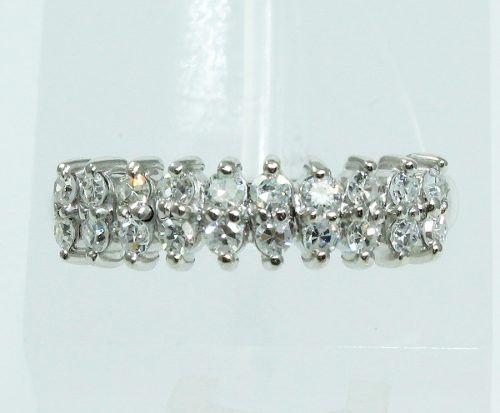 Anel De Ouro Branco 18k750 Diamantes 1984