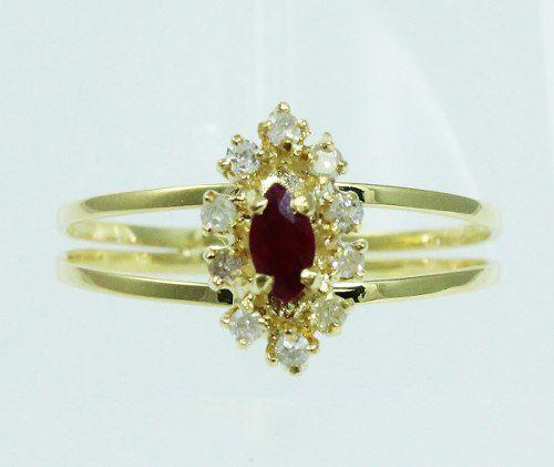 Anel De Ouro 18k750 Diamantes Rubi 1981